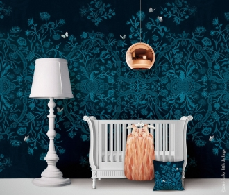 Floramentation wallpaper and Belle Sleigh Cot Bed