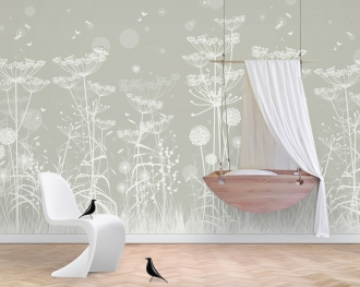 Grey Lost Garden WallScene wallpaper in nursery