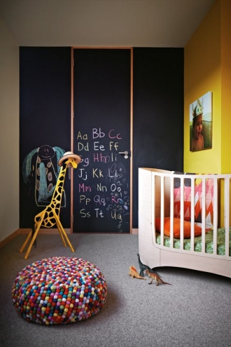 Leander with blackboard in nursery