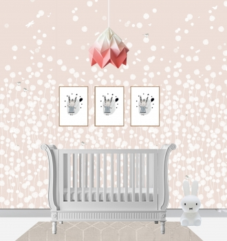 Pink Dandelion Fields and Belle Sleigh Bed Cot