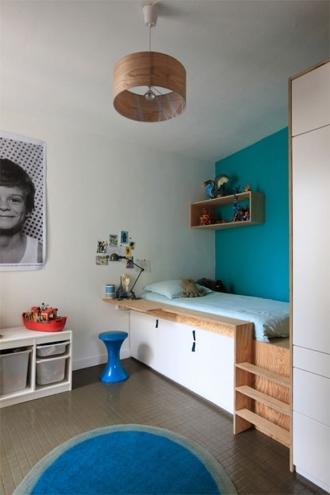 Platform bed in blue room
