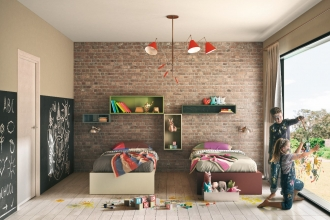 Colourful kids bedroom