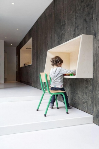 Wall mounted desk in playroom