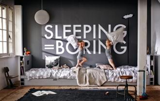 Cool kids bedroom with dark walls