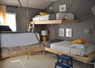 FLoating beds in grey and yellow bedroom