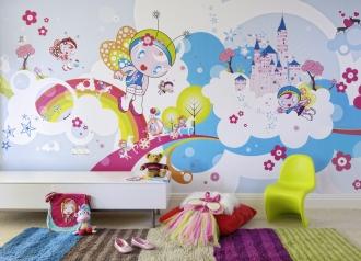 Fairy mural in girls playroom