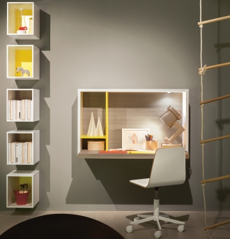 Nidi wall mounted desk, wall mounted desk and storage cubes
