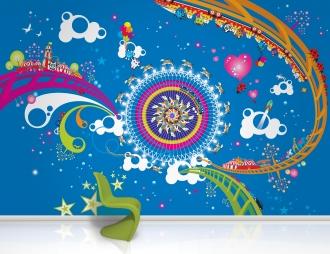 Helter Skelter mural in bedroom
