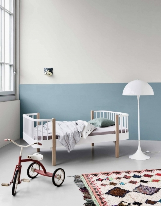Oliver Furniture Wood bed in blue and white room