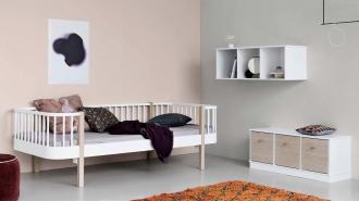 Oliver Furniture Wood Day Bed in blush pink bedroom