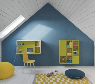 Blue and green in boys bedroom