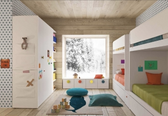 bunk beds and storage in designer kids bedroom, children's bedroom storage