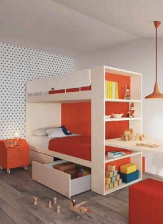 Bunk beds in colourful bedroom