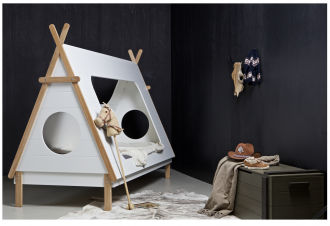 Tipi tent bed in dark bedoom, using black in kids rooms