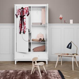 Oliver Furniture white wardrobe in girls bedroom