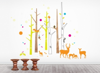 Woodland Friends wall stickers, playroom, bedroom