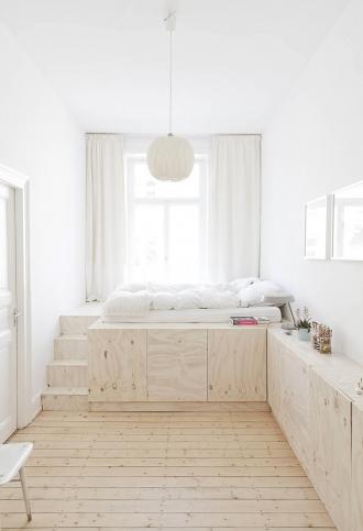Plywood platform bed