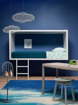 Blue bedroom, wall mounted bed