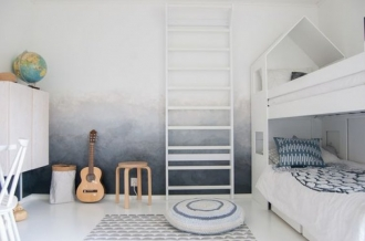 Bunk beds, storage, ombre walls