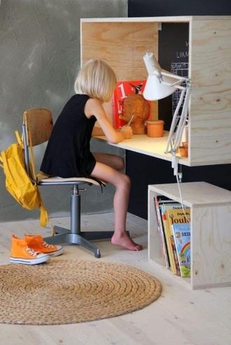 Plywood storage in playroom, plywood desk in play room