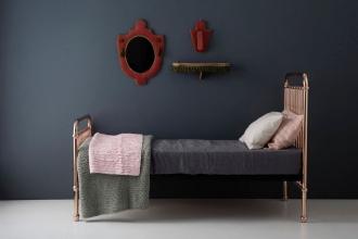 iron kids bed in dark painted bedroom, dark walls in bedroom