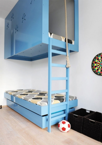 High rise bunk bed, blue ceiling mounted bunk bed
