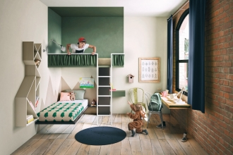 Bunk Beds in green bedrom