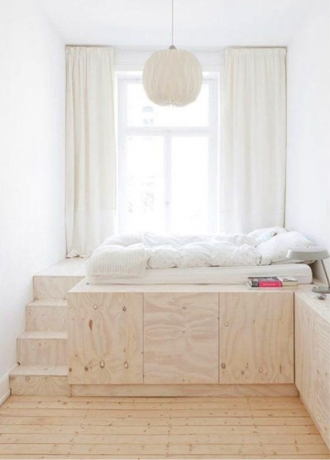 Plywood platform bed, steps and storage in plywood in kids bedroom