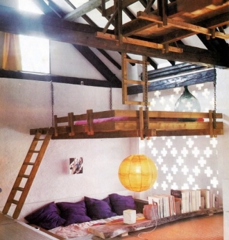 Mezzanine loft bed in vintage wooden bedroom