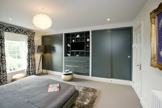Grey Bedroom storage, grey built in storage