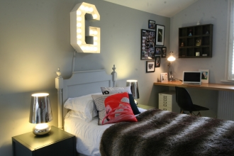 Girls built in bedroom, Scandi bed, colourful cushions, vintage light