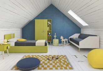 Lime green and blue boy's bedroom