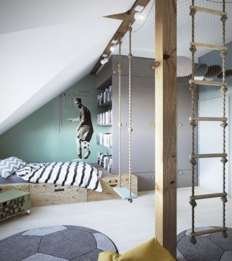 Cool boys bedroom, swing in bedroom
