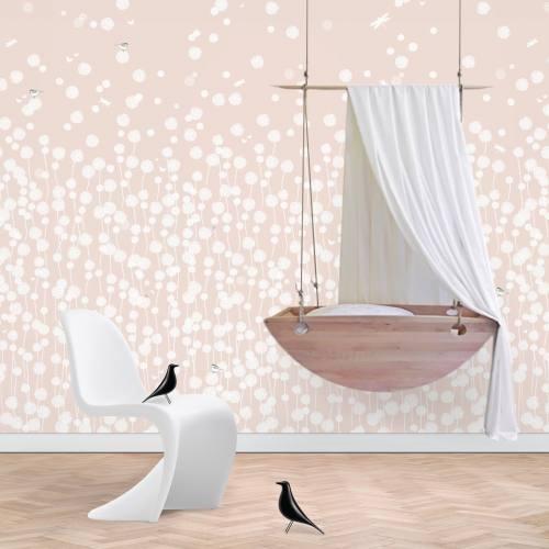 Dandelion Fields Wallpaper - blush pink