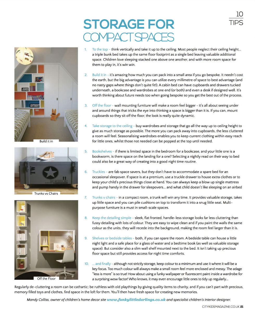 Funky Little Darings interior design page on how to create storage in a compact children's bedroom