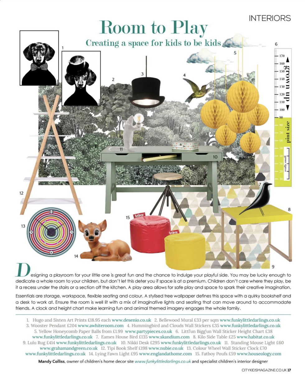 Funky Little Darlings Interior Design page in City Kids magazine, by specialist kids interior designer Mandy Colliss giving tips and advice on designing a playroom for your children