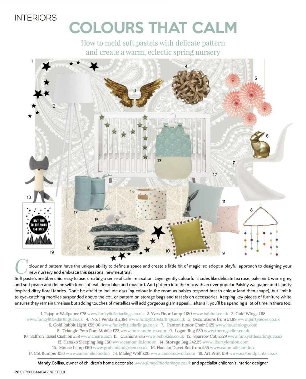 Funky Little Darlings Interior Design page in City Kids magazine, by specialist kids interior designer Mandy Colliss creating a nursery with this seasons new neutrals colour palette