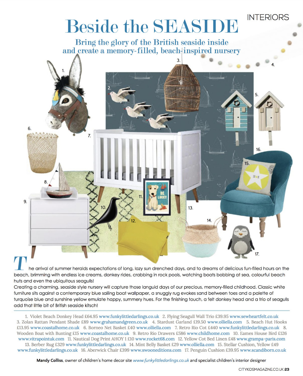 Funky Little Darlings Interior Designer Mandy Colliss shows how to create a sunny, seaside inspired summer nursery