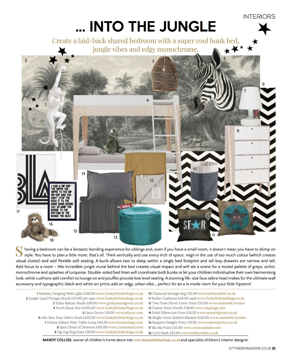 Funky Little Darlings Interior Design page showing how to create a shared bedroom for siblings