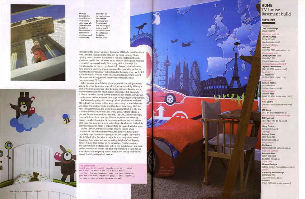 Ferrari Across The World bespoke mural in Grand Designs house for Zoe and Tim Bawtree