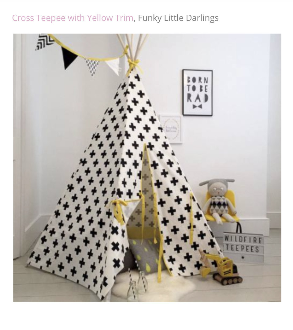 Funky Little Darlings Cross Teepee with bright yellow trim available from the playroom section on our wesite: www.funkylittledarlings.co.uk