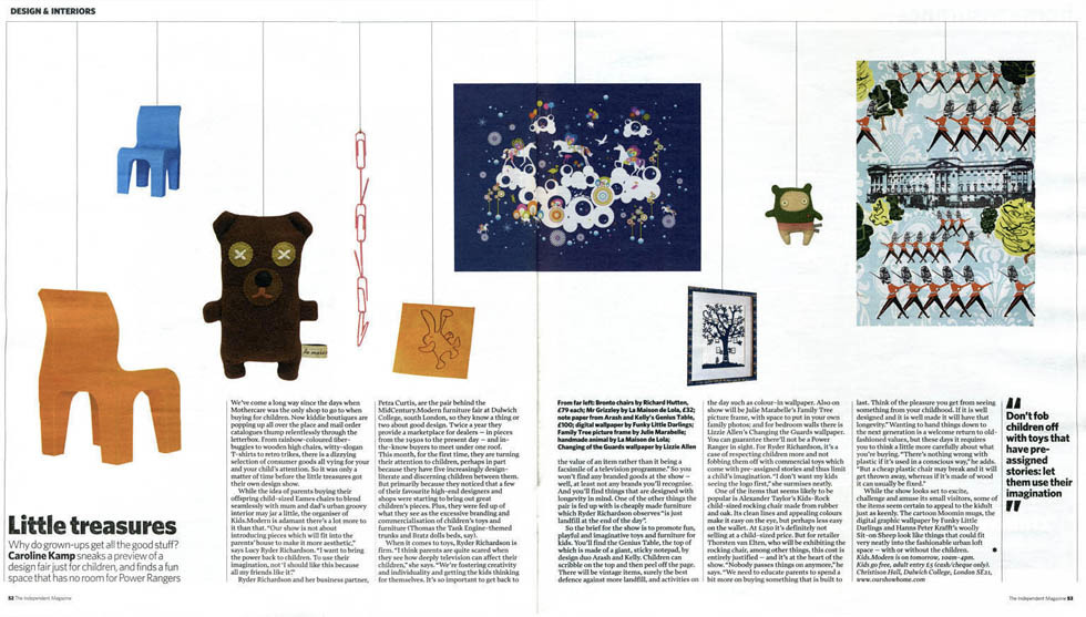 Little Treasures feature by Caroline Kamp, featuring Funky Little Darlings at design fair in London