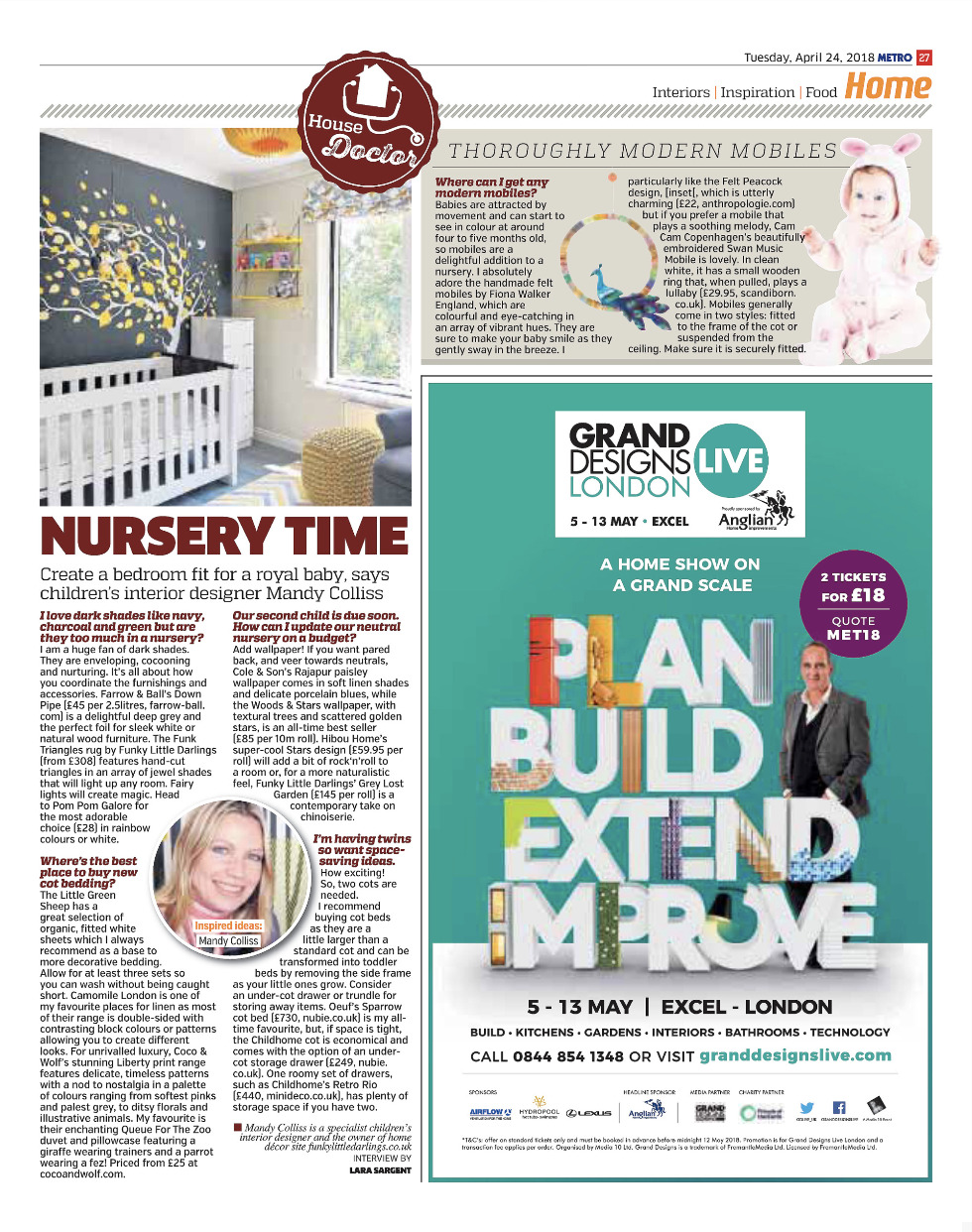 Interview with Mandy Colliss in Metro newspaper, specialist kids interior designer on how to create the perfect nursery and children's bedroom